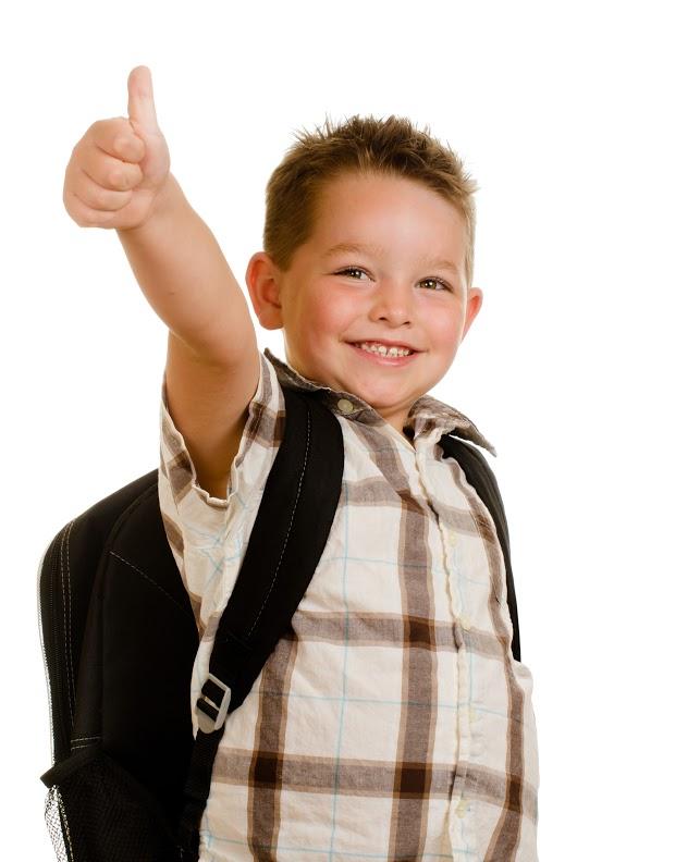 Happy schoolboy wearing backpack