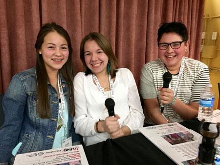 Weyossisok authors Amber Solomon, Brooke Sacobie and Theo Polchies.