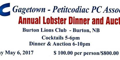 Gagetown – Petitcodiac PC Association Annual Lobster Dinner and Auction