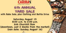 CARMA Fredericton Chapter 6th Annual Yard Sale with Bake Sale and Clothing and Bottle Drive