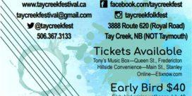 Tay Creek Folk Festival – July 20th to 22nd, 2018